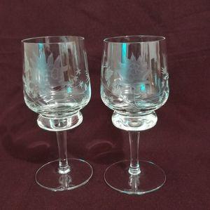 🦋3 for $20 Vtg Etched Glasses